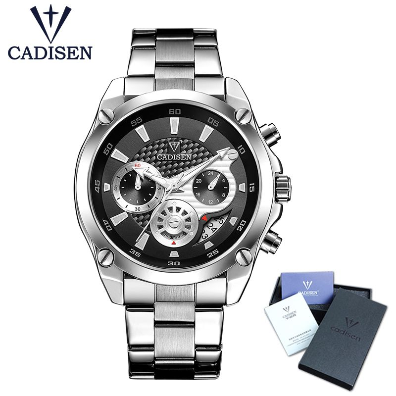 Top Brand Luxury CADISEN Mens Watch Full Steel Sport Watches Fashion Quartz Military Wrist Watch Relogio Masculino Waterproof