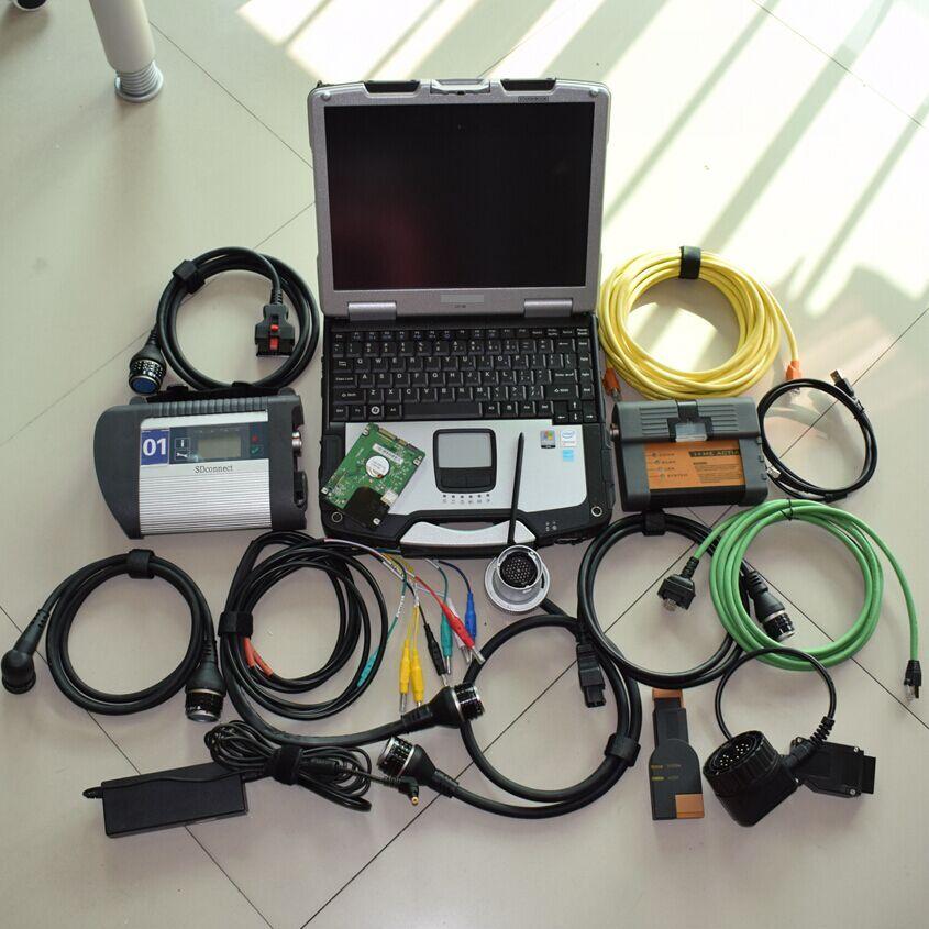 Mb-stern c4 multiplexer und ICOM a2 für bmw mit laptop toughbook cf-30 mit 2in1 hdd 1 tb software 2in1 diagnose