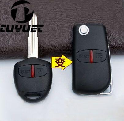 2 Пуговицы автомобиля Болванки для ключей чехол для Mitsubishi Pajero модифицированной флип складной удаленного Оболочки левой лезвие