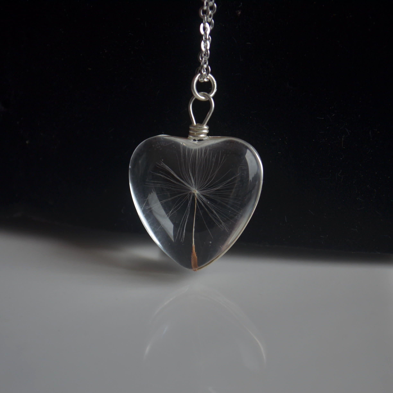 Pissenlit souhait vraie fleur coeur amour verre pendentif 925 en argent Sterling chaîne collier femmes Choker Boho mode bijoux