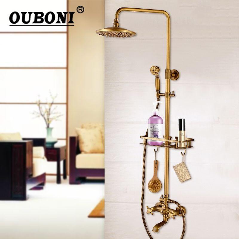 OUBONI Luxury Wall Mounted Bathroom Antique Brass Rainfall Shower Set Faucet +Shelf + Handheld Shower Spray Bathroom Mixer