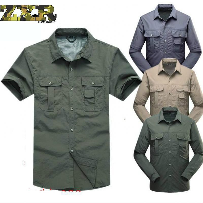 Quick Drying Outdoor Men unloading Tactical Shirts Breathable Removable Clothes Military Fishing Shirt Trekking Hiking Clothing