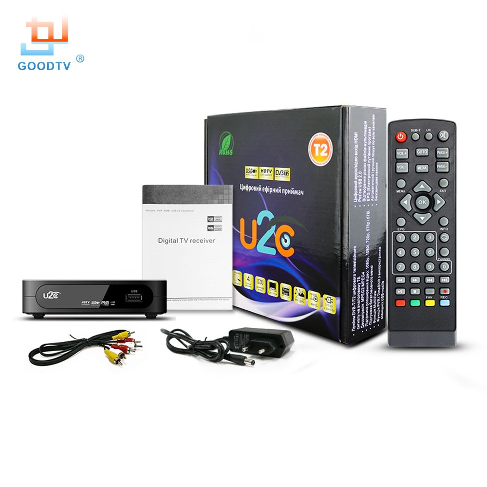 DVB-T2 Tv Box HD Digital U2C Set-top Box with USB & HDMI Interface DVB T2 TV Receiver Support MPEG4 H.264 Russian Free Shipping