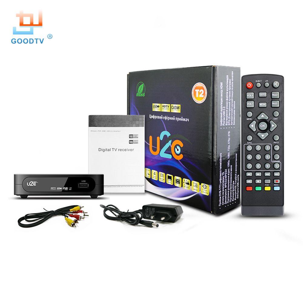 DVB-T2 Tv Box HD Numérique U2C Set-top Box avec USB & HDMI Interface DVB T2 TV Support Récepteur MPEG4 H.264 Russe Livraison gratuite