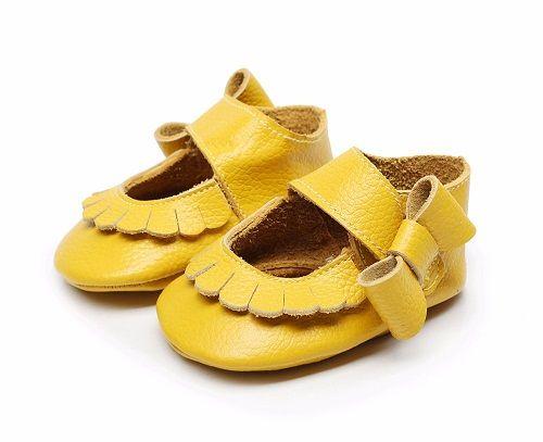 Hongteya vente Chaude 17 couleurs Nouveau Véritable En Cuir Bébé Infant Toddler Mocassins Non-glissement côté arc mary jane Doux Moccs Chaussures