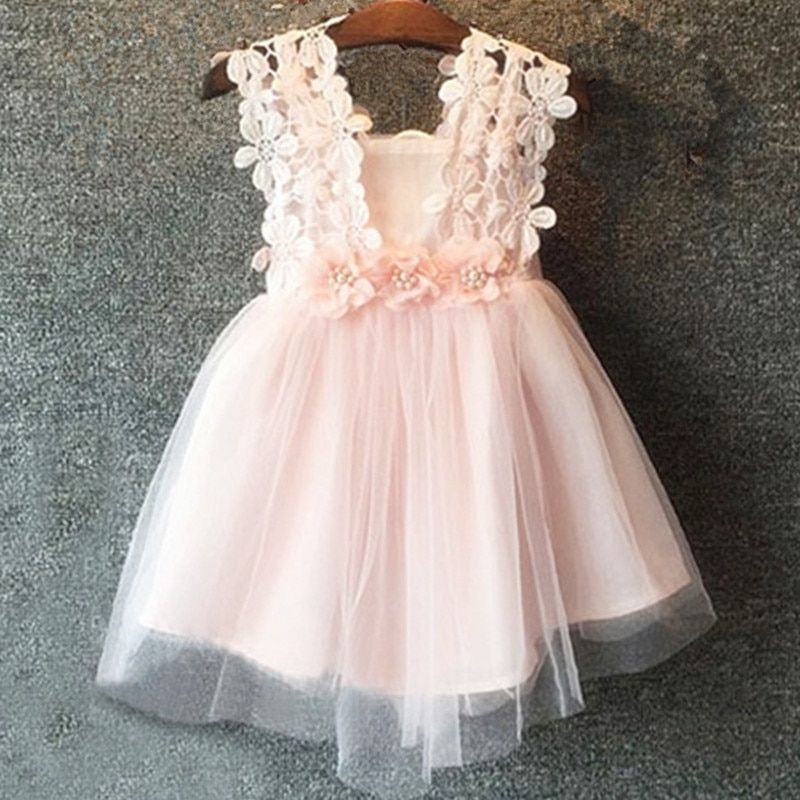 Bear Leader Girls Dresses 2018 New Brand Princess Girl Clothes Lace Hook Flower Design Splicing Gauze Ball Gown For Baby Girls