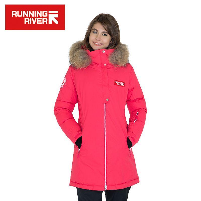 FLUSS Marke Frauen Mit Kapuze Mitte oberschenkel Outdoor Jacke 5 Farben 5 Größen Hohe Qualität Winter Daunenjacken Für frau # D6155