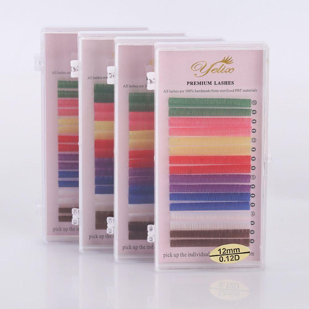 Maquillage Coloré Cilios Posticos Naturelles Faux Cils Individuels Vison Cils Extension Couleur Blanc Eye Lashes Faux Bleu Cils
