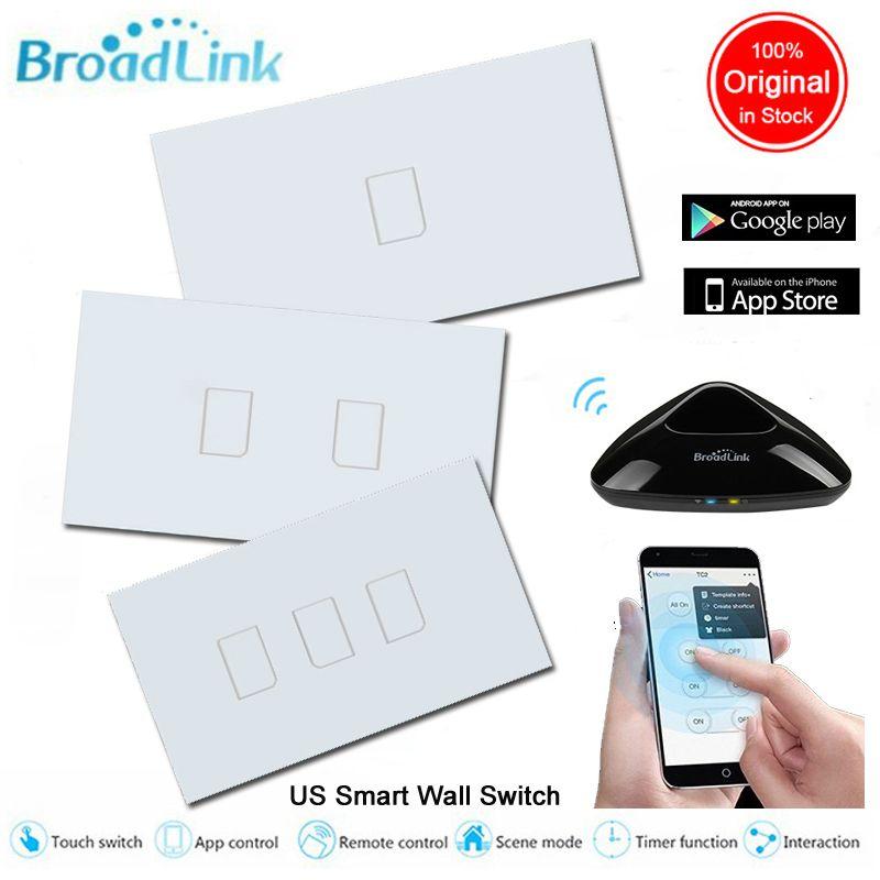 Broadlink TC2 US Mur Lumière WiFi Commutateur 1 2 3 Gangs Maison Intelligente Verre Panneau Tactile Contrôle Sans Fil Commutateurs 110 v 220 v Via Rm Pro