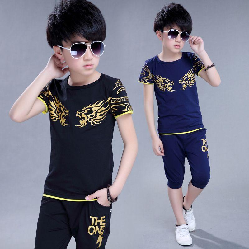 Enfants T-Shirt + short Sport costume garçons vêtements ensemble sport vêtements pour garçons survêtement enfants Sport costume une tenue de sport pour garçon