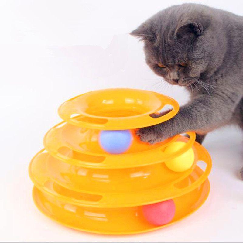 Tres niveles Torre tracks Disc gato mascota juguete inteligencia rides estante gato juguetes diversión trilaminar bola