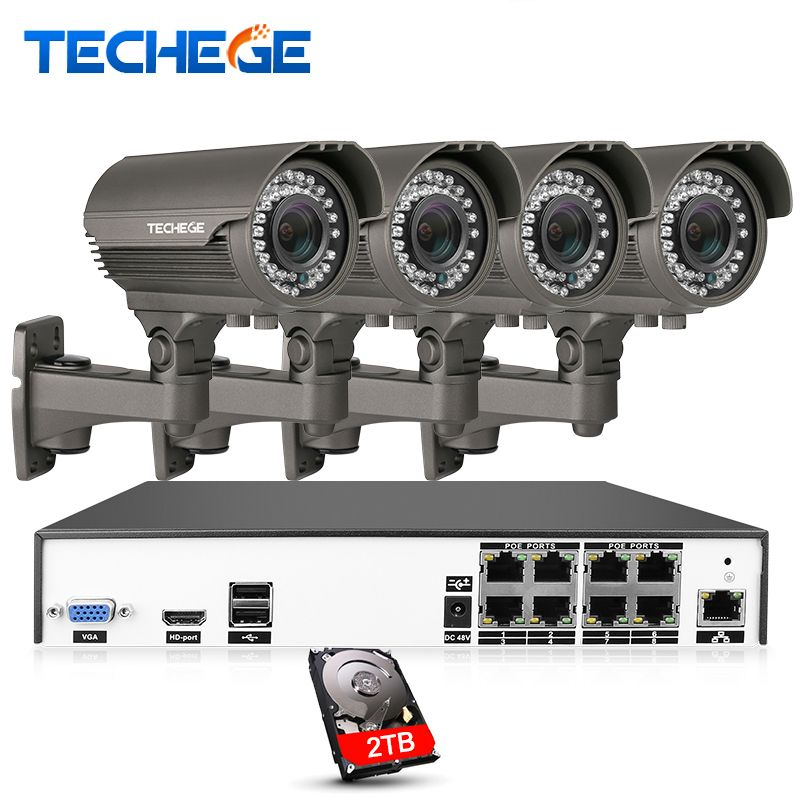 Techege H.265 8CH 4K POE System 2.8-12mm Varifocal Lens 4.0MP IP Camera 2592*1520 IR Outdoor Video Security Surveillance Kit HDD