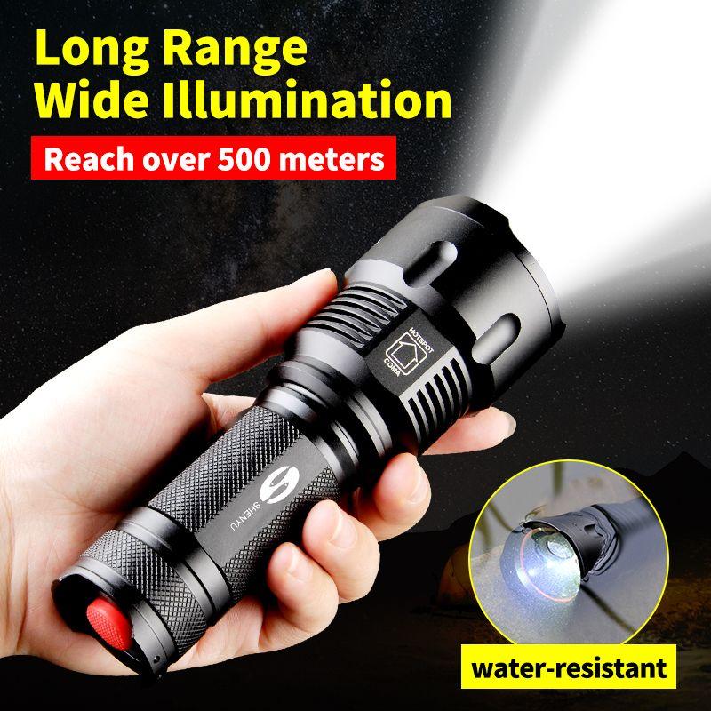 SHENYU Leistungsstarke Taktische Led-taschenlampe CREE XML-T6 Zoombaren Wasserdichte Taschenlampe für 26650 Wiederaufladbare oder AA Batterie