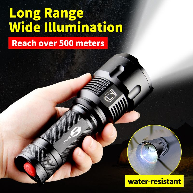 SHENYU Powerful Tactical LED <font><b>Flashlight</b></font> CREE XML-T6 Zoomable Waterproof Torch for 26650 Rechargeable or AA Battery