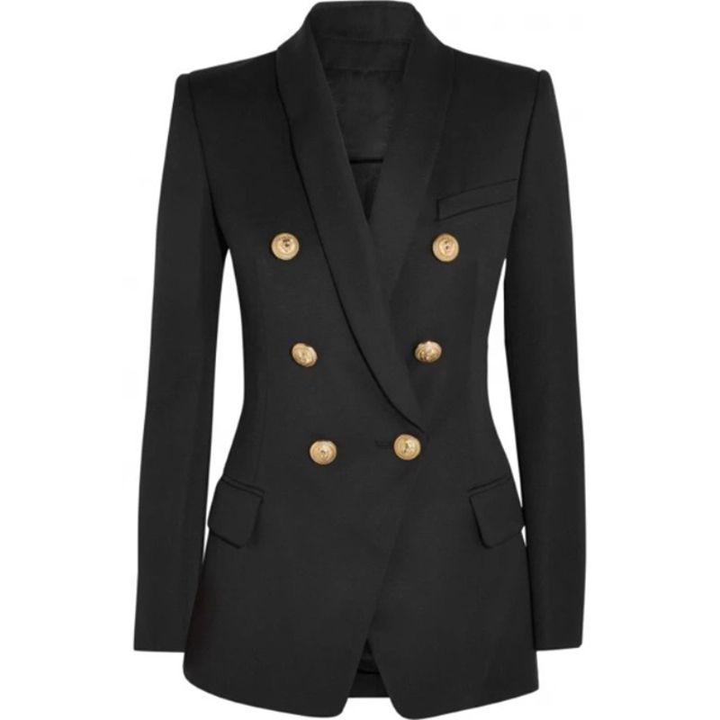 HIGH STREET New Fashion 2018 Designer Blazer Women's Long Sleeve Double Breasted Metal Lion Buttons Long Blazer Outer Wear