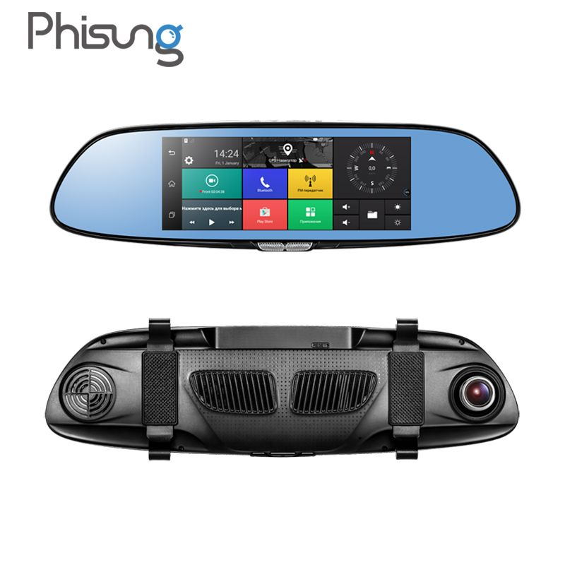 Phisung 7.0in 3G Car DVR video mirror Android GPS FHD 1080P car automobile DVRs Bluetooth WIFI car camera dvr video recorder