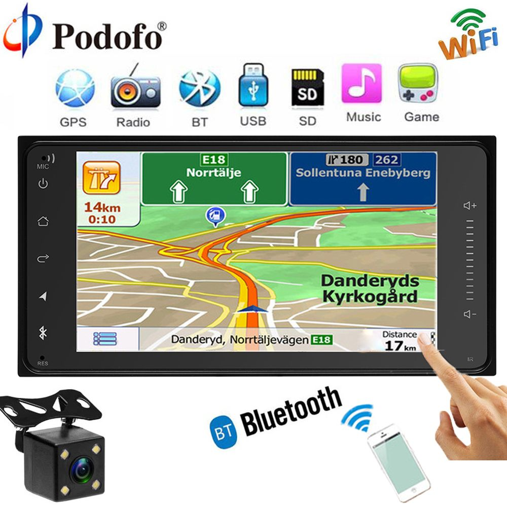 Podofo Car Radio GPS Navigation Player Touch Autoradio Wifi Bluetooth MP5 FM USB 7