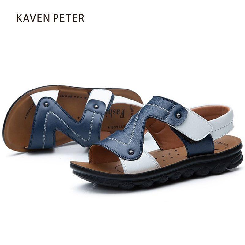 2018 sandales de plage en cuir de vache véritable d'été pour enfants bébé grosses sandales décontractées chaussures pour garçons chaussures orthopédiques pour enfants