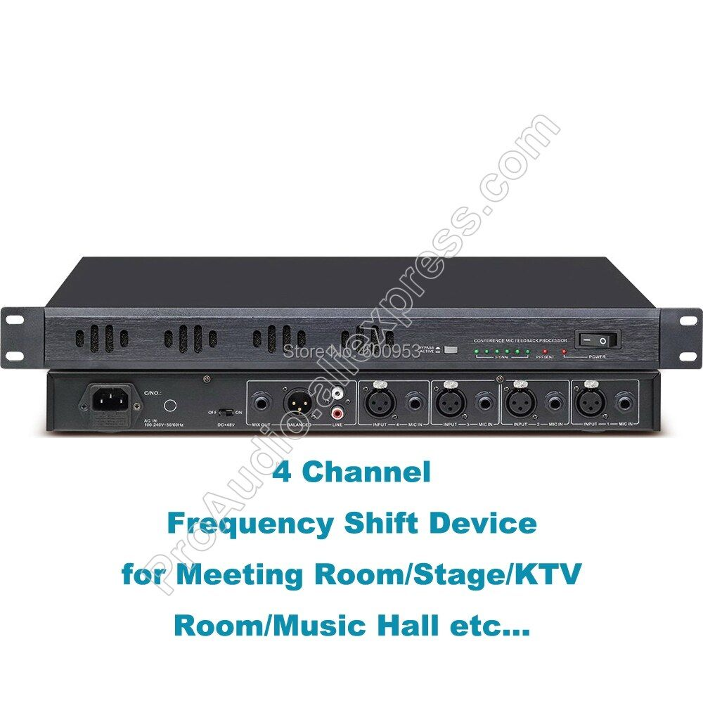 Professional 4 input Digital Frequency Shift / Feedback suppressor device for Meeting KTV Room Theater Live sound system etc.