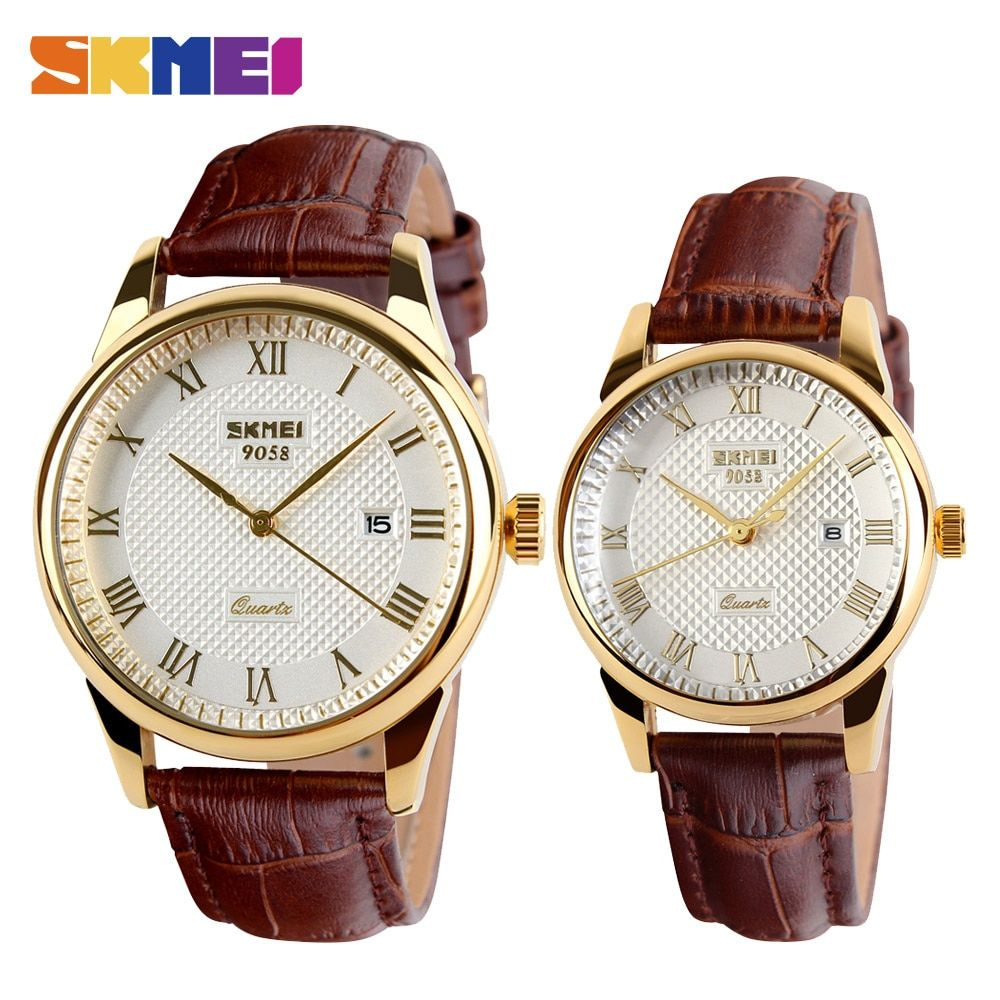SKMEI Men Quartz Wristwatches Luxury Brand Leather Casual Fashion Business Watches Men Clock Waterproof <font><b>Relogio</b></font> Masculino 9058