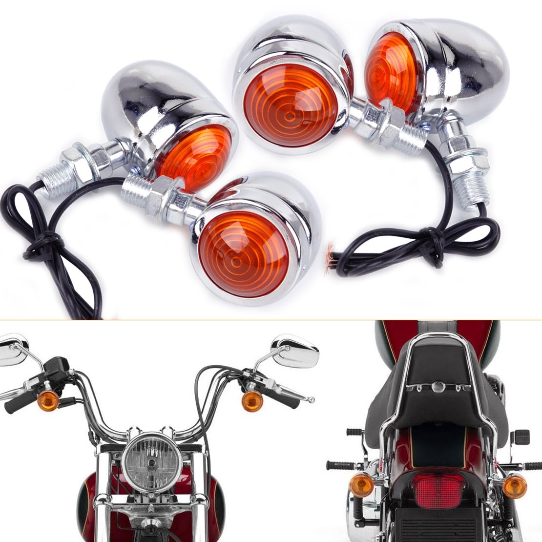 beler New 4pcs Silver Chrome Plate Bullet Turn Signal Lights Indicator Lamp Fit for Motorcycle Harley Dirt Bike Honda Guzzi