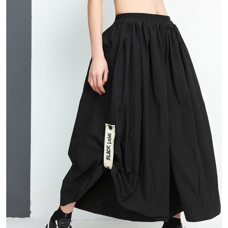 SHENGPALAE 2018 New Summer Autumn High Elastic Waist Black Printed Loose Big Size Wide Leg Pants Ladies Fashion Women JE92701