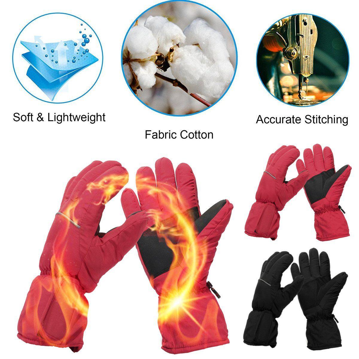 Waterproof Men Women Sport Ski Motorbike Winter Warmer Gloves Electric Battery Heated Gloves Bicycle Snow Full Finger Gloves