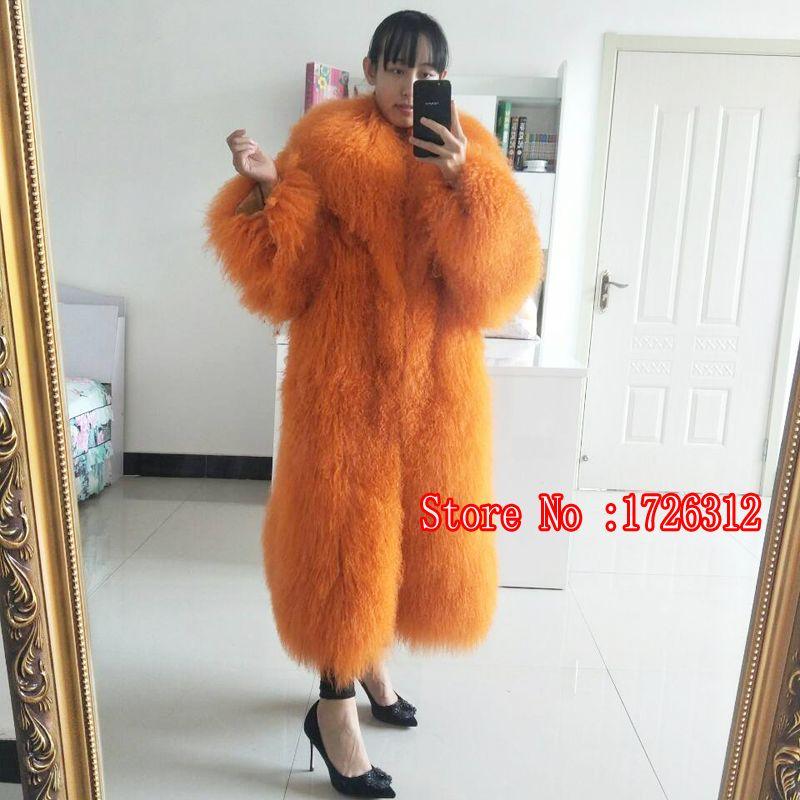 2018 warme lamm schaffell pelz lama weiblichen langen abschnitt mantel Mongolei Schafe pelzmantel strand wolle outwear drehen unten kragen