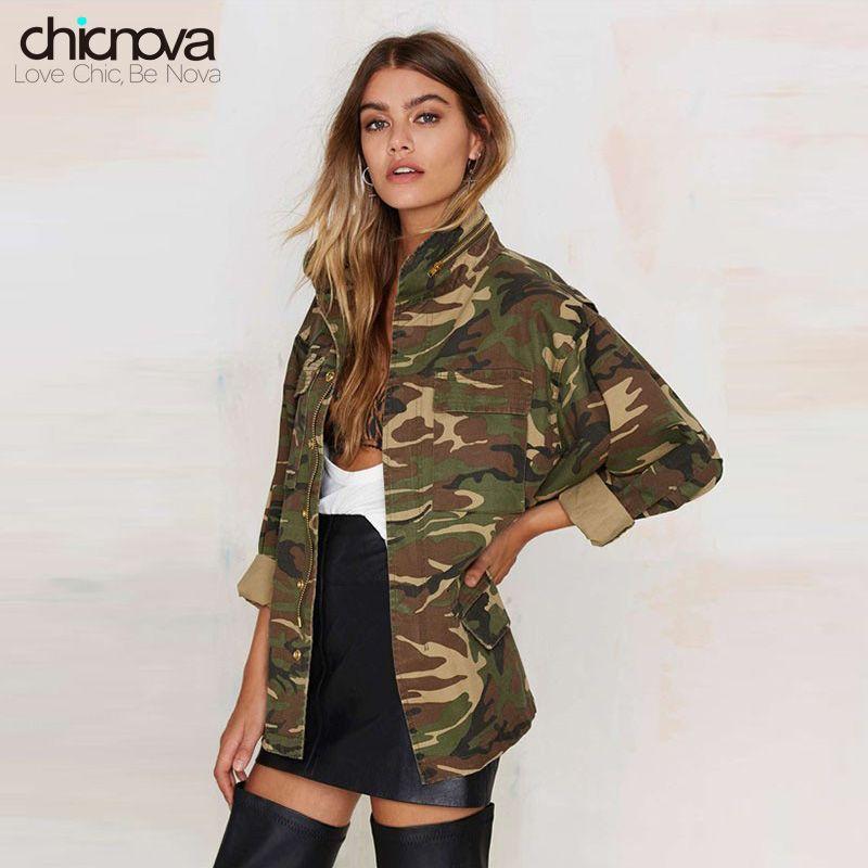 2016 New camo jacket women plus Size Long Sleeve Denim Jacket Zipper closure Women's Jacket Coat TA02801030329