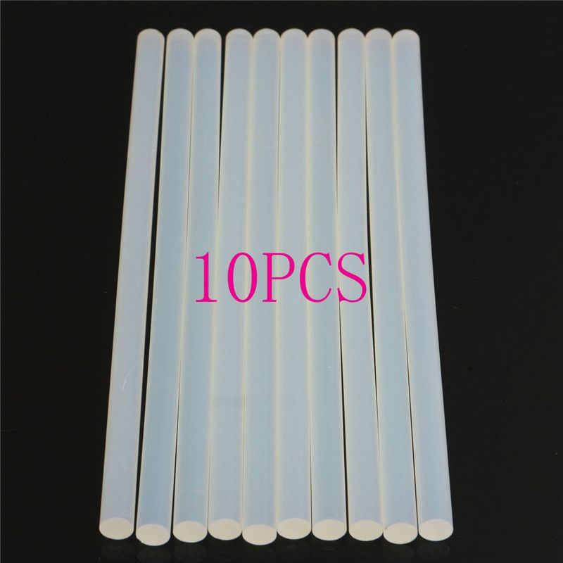 10pcs 11mm Non-Toxic EVA Clear Hot Melt Glue Sticks 11mmx200mm For Glue Gun Craft Album Repair Solid Color Accessories Adhesive