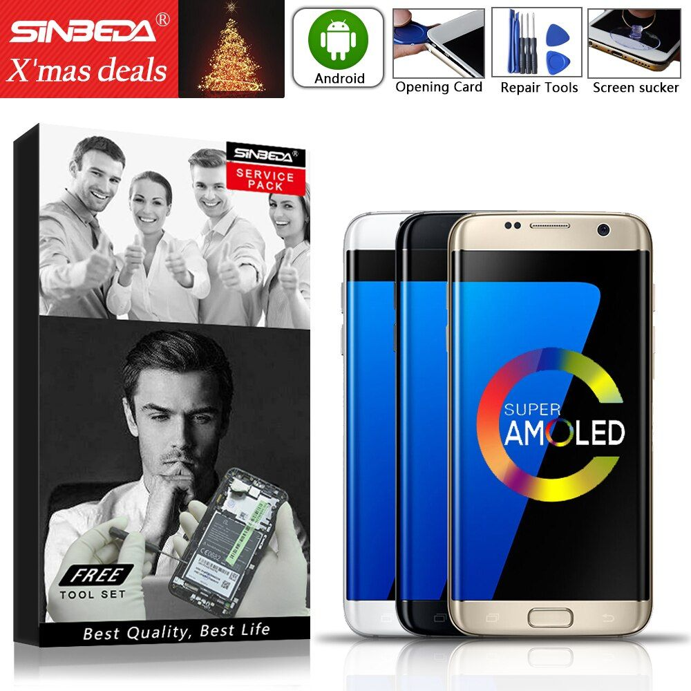 5.5Sinbeda AMOLED For SAMSUNG Galaxy S7 edge LCD Display Touch Screen with Frame For SAMSUNG S7 edge Display SM-G935F G935 LCD@