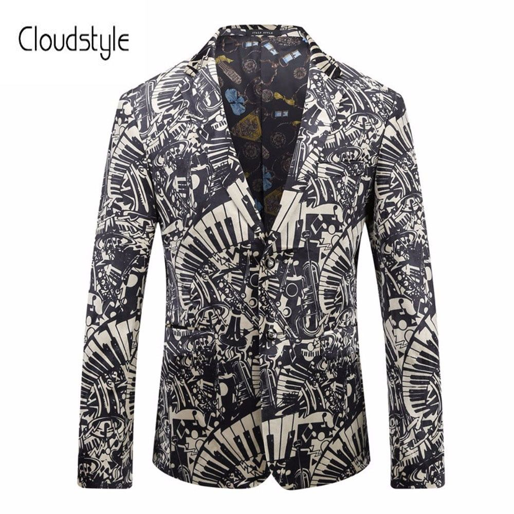 Cloudstyle 2018 Male Performance Suit Jackets Fashion Single Button Black And White 3d Print Overcoat Party Show Casual Blazer
