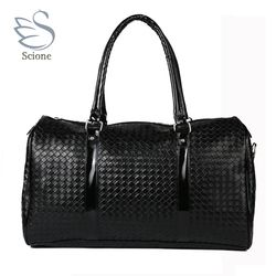 Knitting Pattern black leather large travel bag Men women luggage travel bags Duffle Bag maletas de viaje sac de voyage 688t