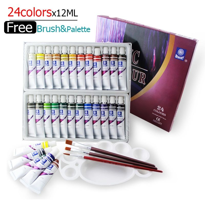 Water-resistant 24 Colors 12ML Tube Acrylic Paint set color Nail glass Art Painting paint for fabric <font><b>Drawing</b></font> Tools For Kids DIY