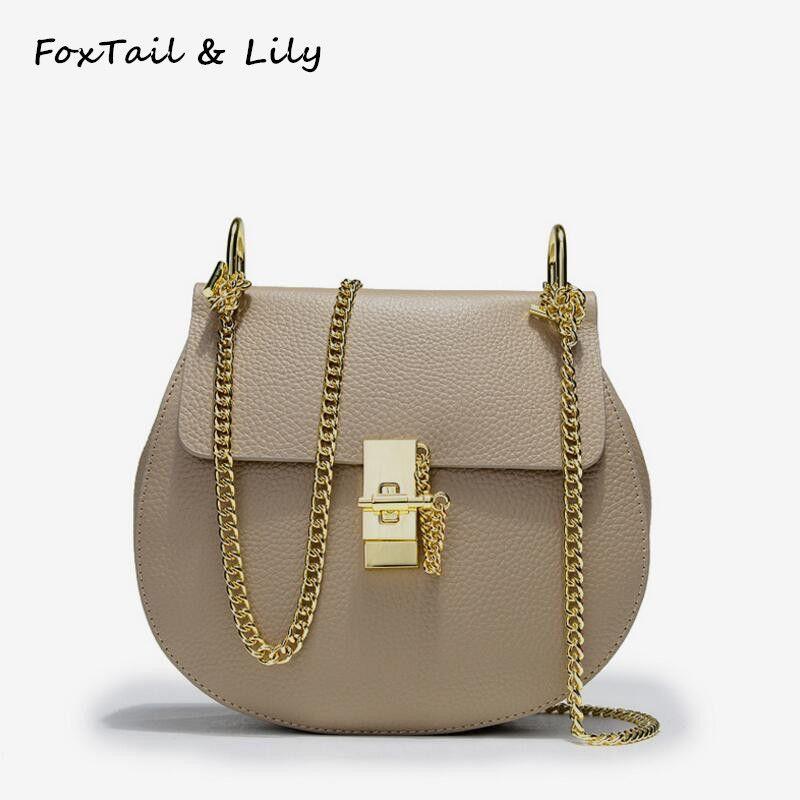FoxTail & Lily coréen sac à chaîne en cuir véritable femmes sacs à bandoulière dames sacs à main petit sac à bandoulière Messenger pour les filles