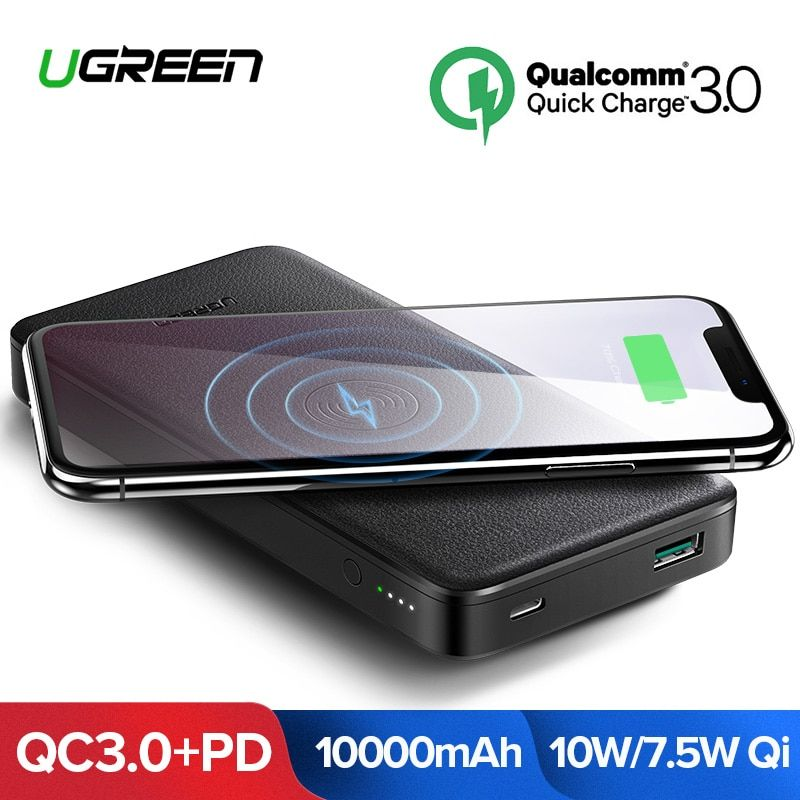 Ugreen 10000 mAh Qi Drahtlose Ladegerät Power Bank 18 W USB PD Power Für iPhone X 8 Macbook Samsung S9 externe Batterie Poverbank