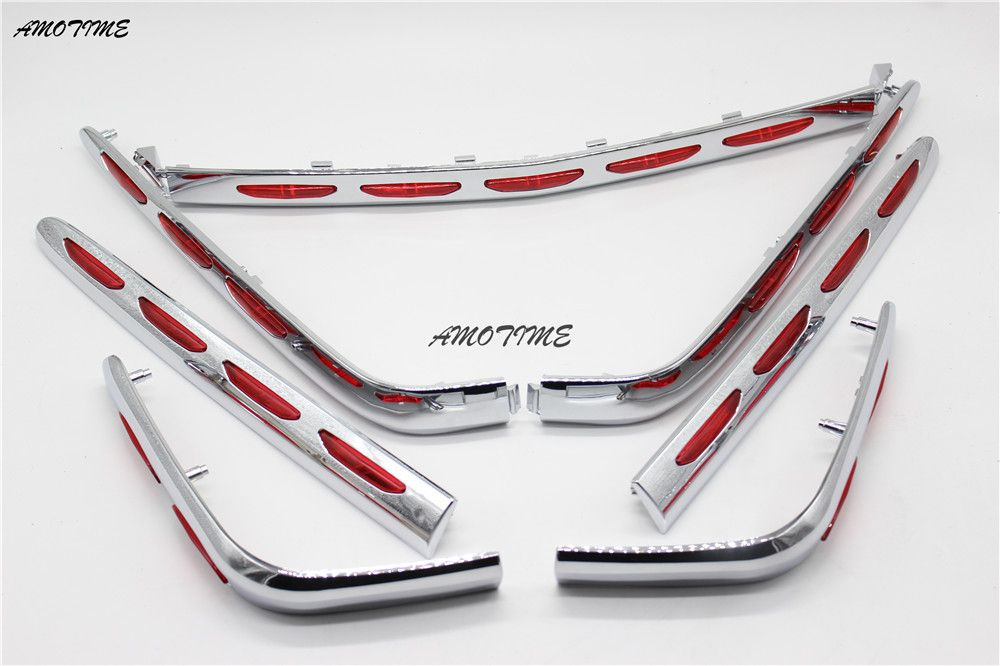Motorcycle Chrome Fairing Saddlebag Light Accents Fit Honda Goldwing 1800 GL1800 2001-2011 02 03 04 05 06 07 08 09 10 Left righ