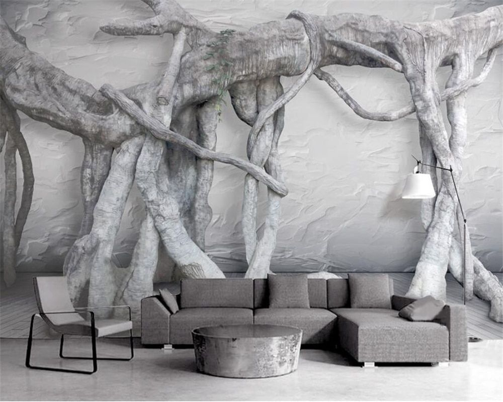 Beibehang noir et blanc 3d trois dimensions art arbre racine art vierge forêt TV fond d'écran peintures murales pour murs 3 d