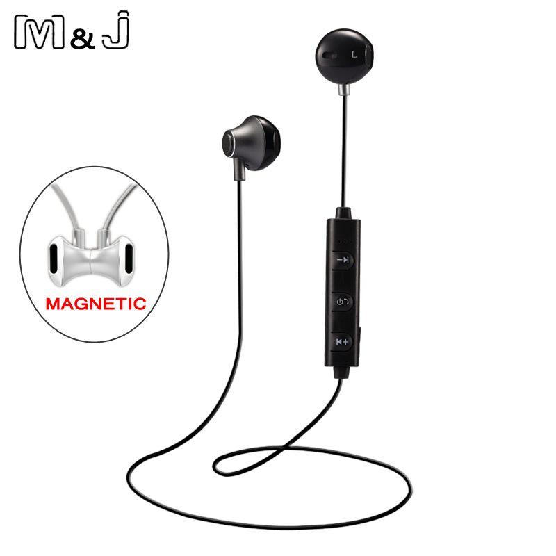 M&J 820 Half in Ear Wireless Bluetooth Earphone Magnetic Stereo Sport Running Headsets With Mic For Phone Earpod fone de ouvido