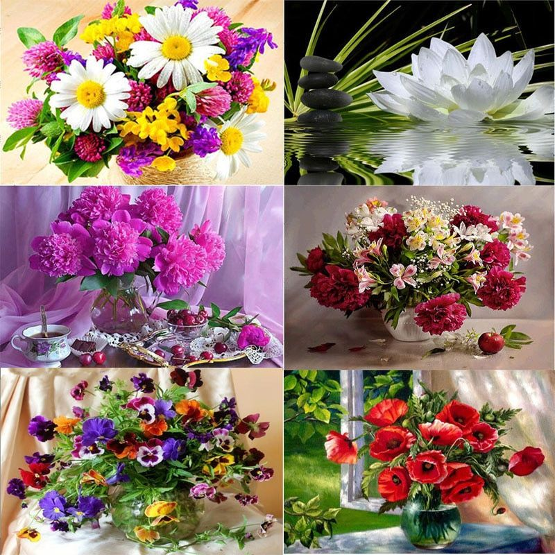 Flower arranging 5D DIY diamond Painting flowers Cross Stitch diamond embroidery mosaic diamonds <font><b>wall</b></font> stickers home decor vase