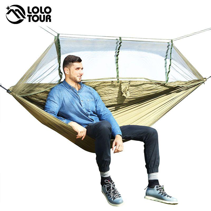 1-2 personne en plein air moustiquaire Parachute Hamac Camping suspendu lit de couchage balançoire Portable Double chaise Hamac armée vert