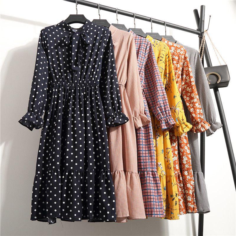 Coréen noir chemise Vestidos bureau à pois Vintage automne robes femmes hiver robe 2019 Midi Floral à manches longues robe femme