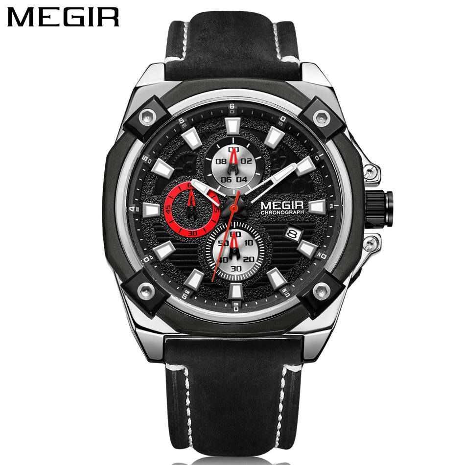 MEGIR Original Band Men Casual Waterproof Watch Military Chronograph Sport Multifunctions New Style Leather Strap Elegant Clock