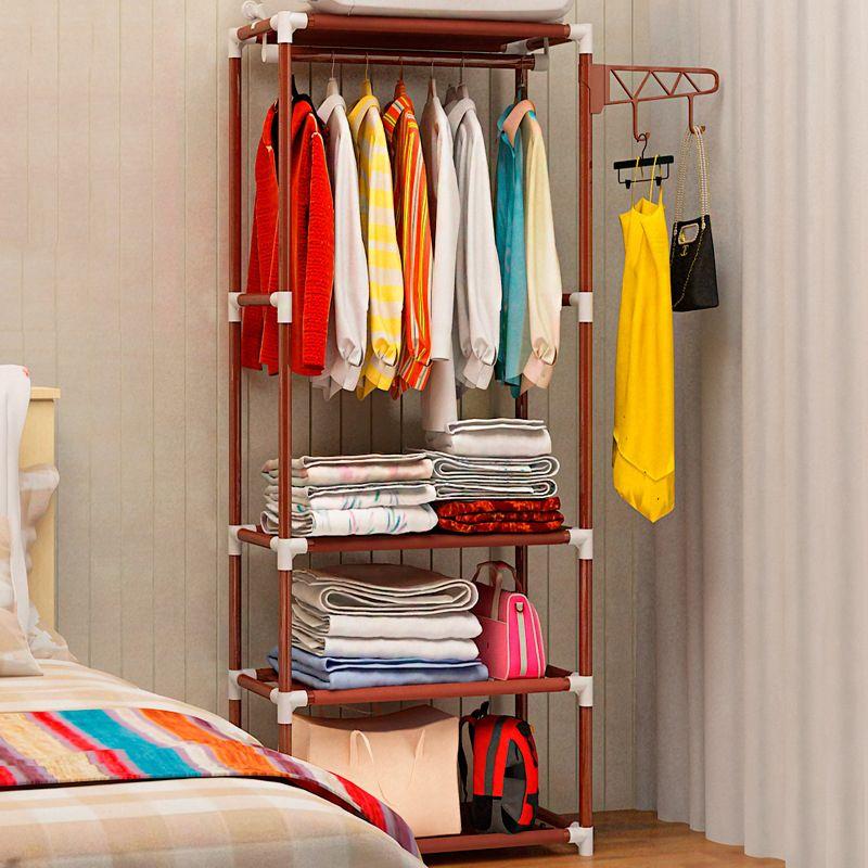 Actionclub Simple métal fer porte-manteau sol debout vêtements suspendus étagère de rangement vêtements cintre supports chambre meubles