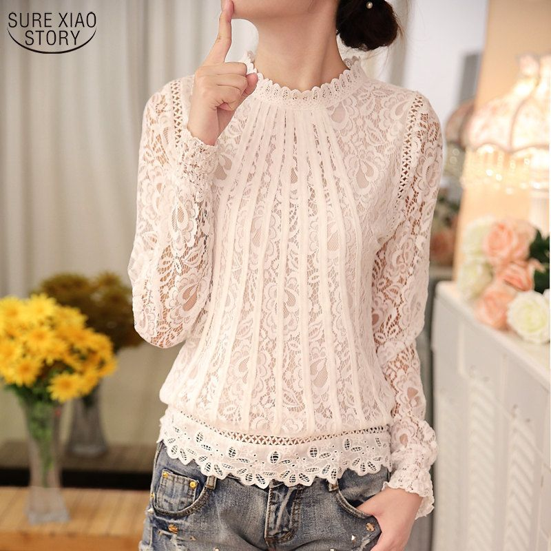 2018 New autumn Ladies White Blusas Women's Long Sleeve Chiffon Lace Crochet Tops Blouses Women Clothing Feminine Blouse 51C