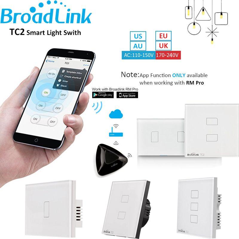 Broadlink TC2 1 2 3 Gang Domotique WiFi Interrupteur de Lumière 110-240 v Verre Panneau Tactile Sans Fil À Distance contrôle par RM03 RM Pro +