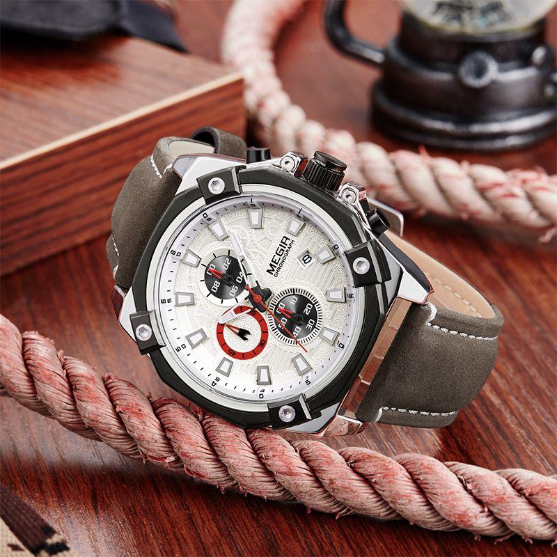 MEGIR Mens Watches Fashion Casual Sport Quartz Watch Men Chronograp Clock Man Leather Business Wrist watch Relogio Masculino