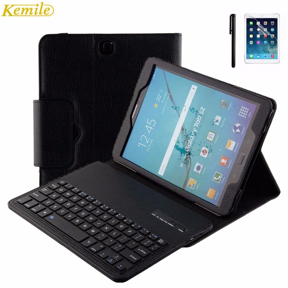 Kemile Amovible Sans Fil Bluetooth Clavier Portefeuille En Cuir Housse pour Samsung Galaxy Tab S2 9.7 T810 T815 T819