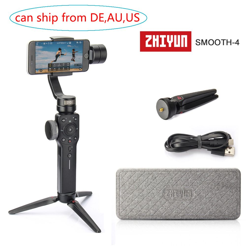 (can ship from Germany,AU,US) Zhiyun Smooth 4 3-Axis Handheld Gimbal Stabilizer for iPhone X 8 7 Plus 6 Samsung Galaxy S8+ S8 S7