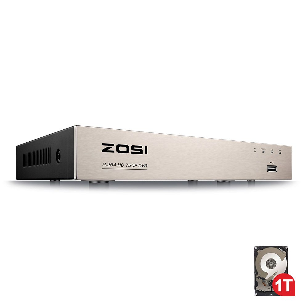 ZOSI 8 Channel TVI 4-IN-1 DVR with 1TB 720P Security CCTV DVR 8CH Mini Hybrid HDMI DVR Support Analog/AHD/TVI/CVI Camera